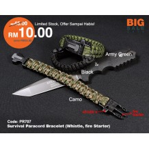 550 PARACORD SOS BRACELET, WHISTLE, FIRE STARTER. PR707
